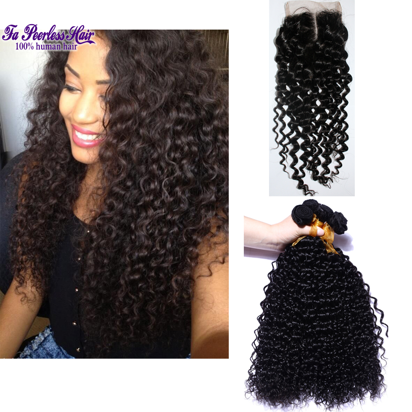 Brazillian Kinky Curly 4 Bundles With Closure Black Curly Hairstyle Spiral Curl Human Hair Bundle Deals With Closure Grace Hair