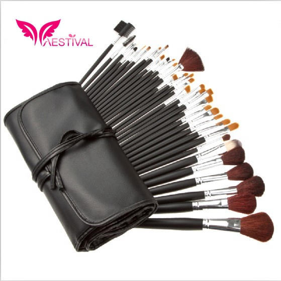 Xaestival Professional 34 Pieces Make up Brushes Set With Black Bag Free Shipping(China (Mainland))