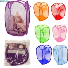 New Foldable Pop Up Washing Clothes Laundry Basket Bag Hamper Mesh Clothes Storage Basket Levert Dropship mar2(China (Mainland))