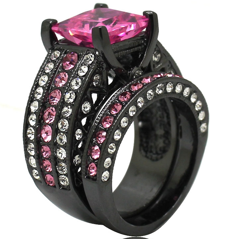 Size 5 6 7 8 9 10 11 Black Rhodium Plated Pink Stone Princess Cut Wedding Engagement Eternity Cluster Ring Band Set Pair