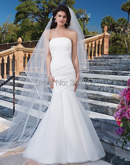 Simple Wedding Dresses Strapless 2015 Bridal Gowns Mermaid Pleat Vestido Branco Floor Length White Organza Custom Made WL3102 - Full Romantic store