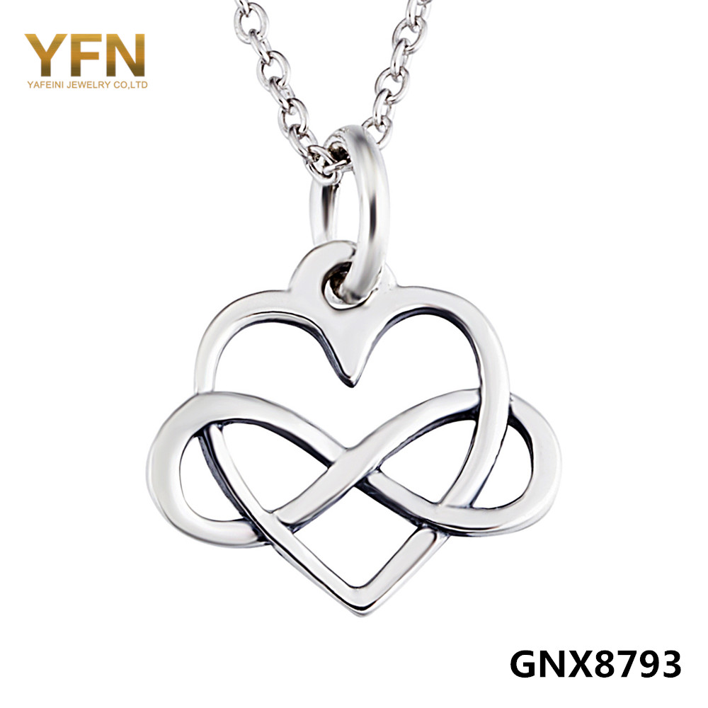 GNX8793 100% Real Pure 925 Sterling Silver Infinity Heart Pendant Necklace Fashion Jewelry Valentine's Gifts For Women(China (Mainland))