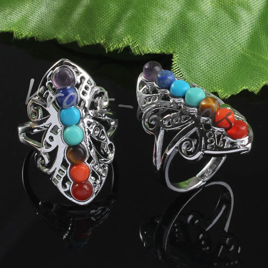 Wholesale 10Pcs Charm Silver Plated Chakra Healing Stone precious stone  Adjustable Finger Ring Jewelry