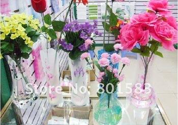 Free Ship  pvc foldable plastic vase(Small ; style random) fashion Home Decoration low carbon vase 100pcs/ctn
