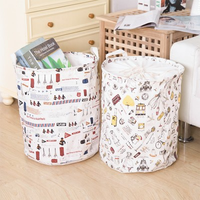 BF050 Cotton printing large folding laundry basket with handle clothes storage bag 35*45cm free shipping(China (Mainland))