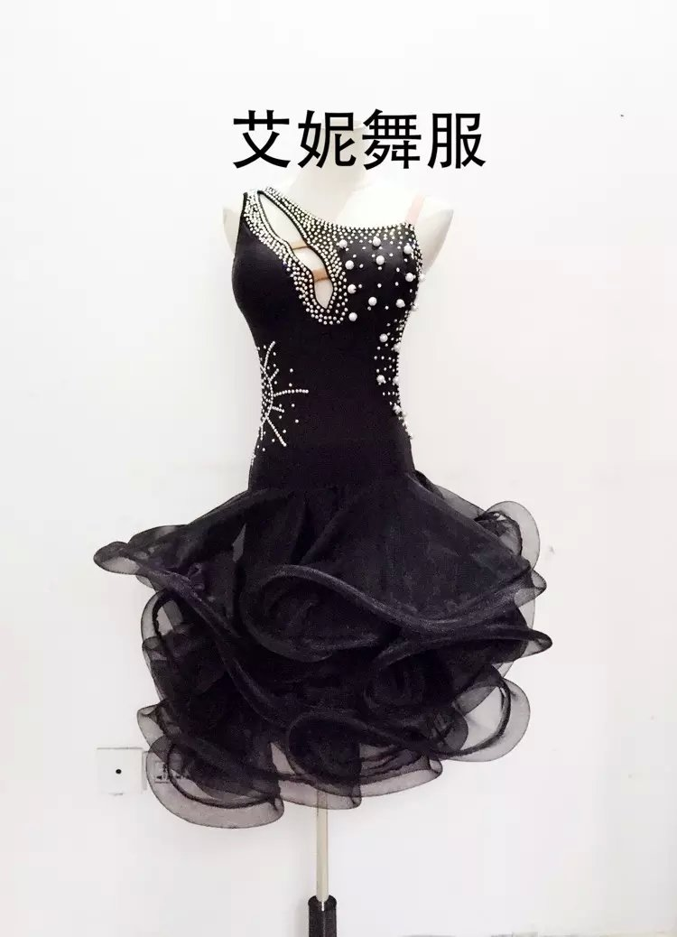 New style latin dance costumes senior sexy black stones latin dance dress for women latin dance competition dresses S-4XLОдежда и ак�е��уары<br><br><br>Aliexpress