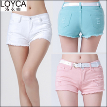 LOYCA Plus Size Candy Color Jeans Shorts Women Sexy Ripped Short Pants 2016 Summer Fashion Shorts Feminine Casual Denim Shorts