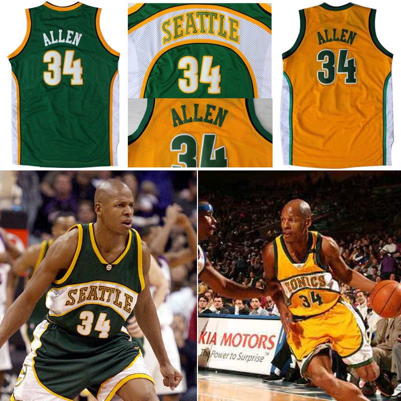 Гаджет  Hot Sale Seattle Supersonics 34 Ray Allen Throwback Jersey Retro Vintage Basketball Jerseys Green Embroidered Logo Free Shipping None Спорт и развлечения