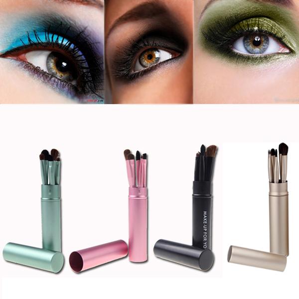 High Quality! 5Pcs Professional Eyeshadow Cosmetic Make Up Brushes Kit Set Makeup Tool with Round Tube(China (Mainland))