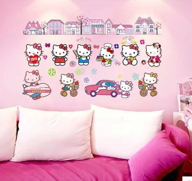 Hello Kitty wall stickers The bedroom of children room hello Kitty stickers(China (Mainland))