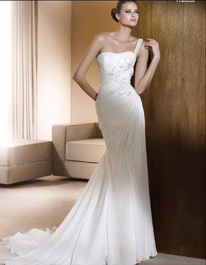 Kiki 101353 discount one shoulder satin accept wedding for Designer wedding dresses at discount prices
