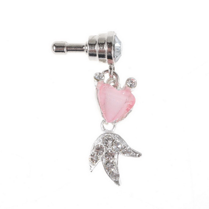 Wholesale 1pcs Rhinestone Pink Goldfish 3.5mm Anti Dust Plug Charms Mobile Phone Dust Plug,Dust Plugs for Cell Phones(China (Mainland))