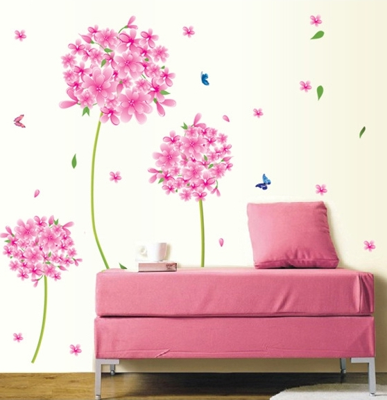 Pink pandora flower tree wall stickers decals women girl for Autocollant decoration murale