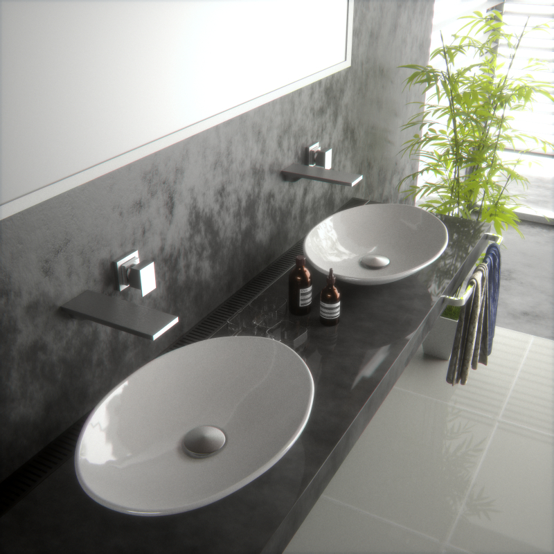 Buy new super slim oval bowl counter top for Bathroom wash basin counter designs