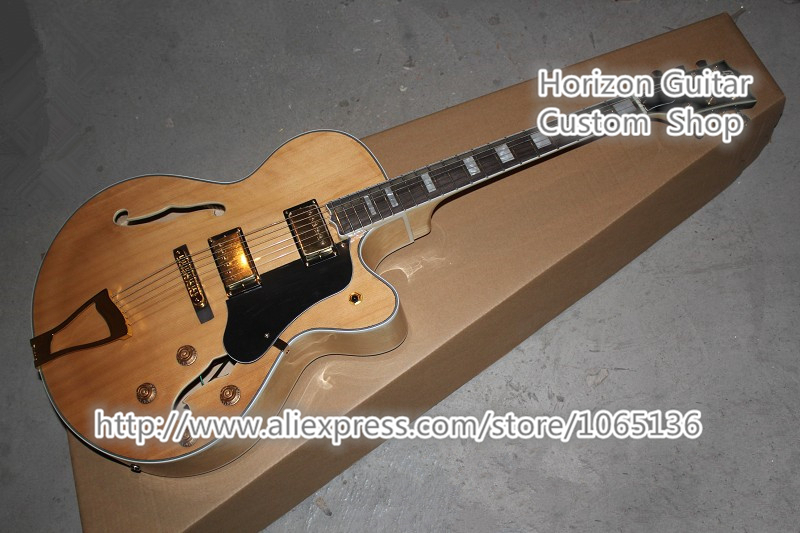 Custom Shop L5 Guitar Jazz Hollow Body Electric Guitars Natural Wood Top Flame Back Chinese Musical Instruments(China (Mainland))
