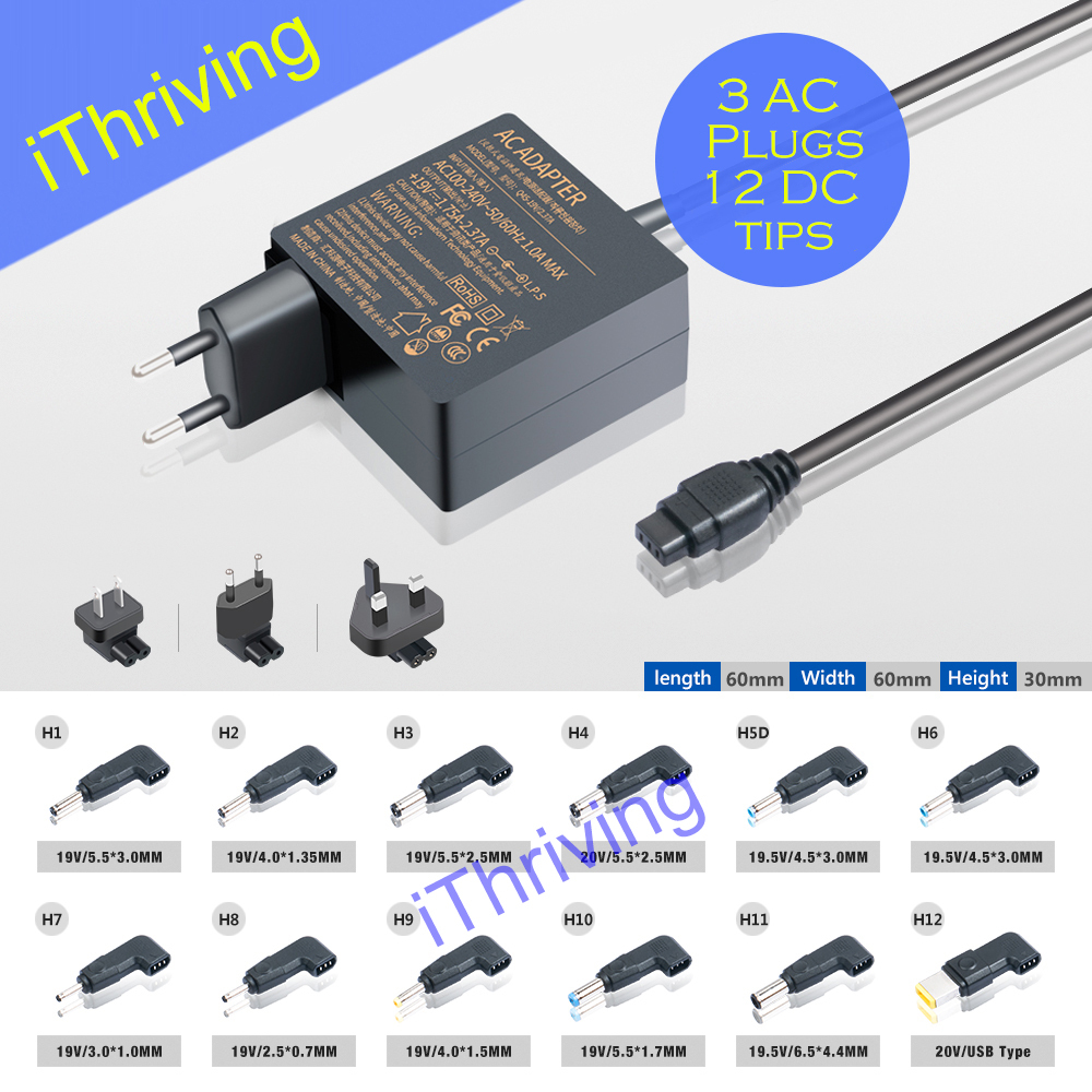 iThriving 45W Mini AC Adapter Charger Automatic Universal AC Power Supply PSU with 12 DC connector tips for most brand ultrabook(China (Mainland))