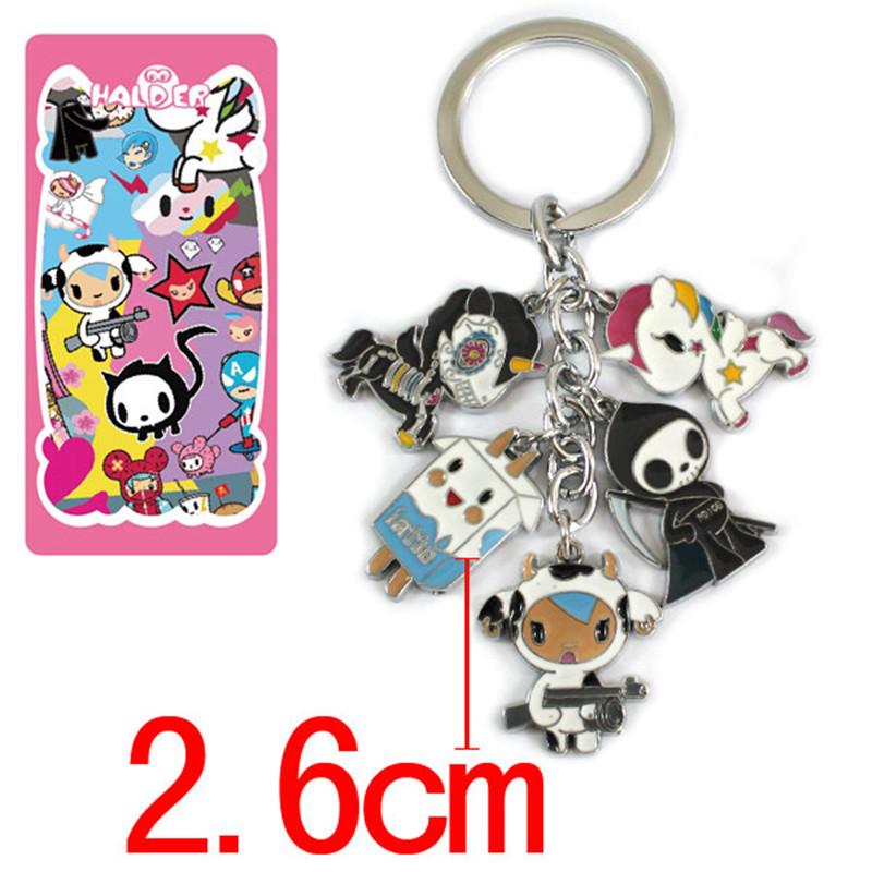 Anime Cartoon tokidoki Metal Alloy zinc font b Figures b font Keychain fashion pendants charms phone