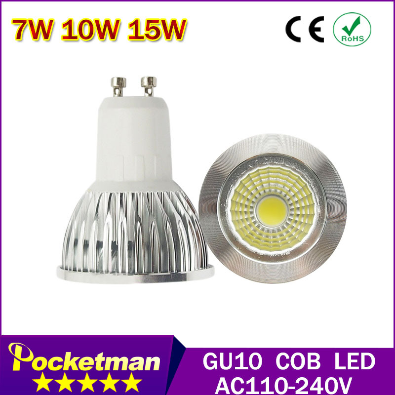 Led Spot Light 7W 10W 15W GU10 COB Spotlight Bulb Lamp High Power White Warm White Lamps AC85-265V Led Light Brand Wholesale(China (Mainland))