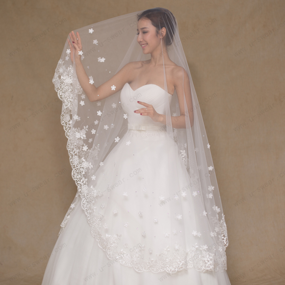 2016 Wedding Veils Floral Appliques Lace Bridal Veil 3 meters velos de novia Wedding Vail Long Cathedral Wedding Veil In Stock(China (Mainland))