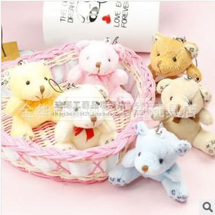 8CM 3.15Inch Cute Korean Plush Stuffed Soft MiNi Teddy Bear Toy Doll, can be bag, mobile phone pendant chain 6 COLORS Mixed<br><br>Aliexpress