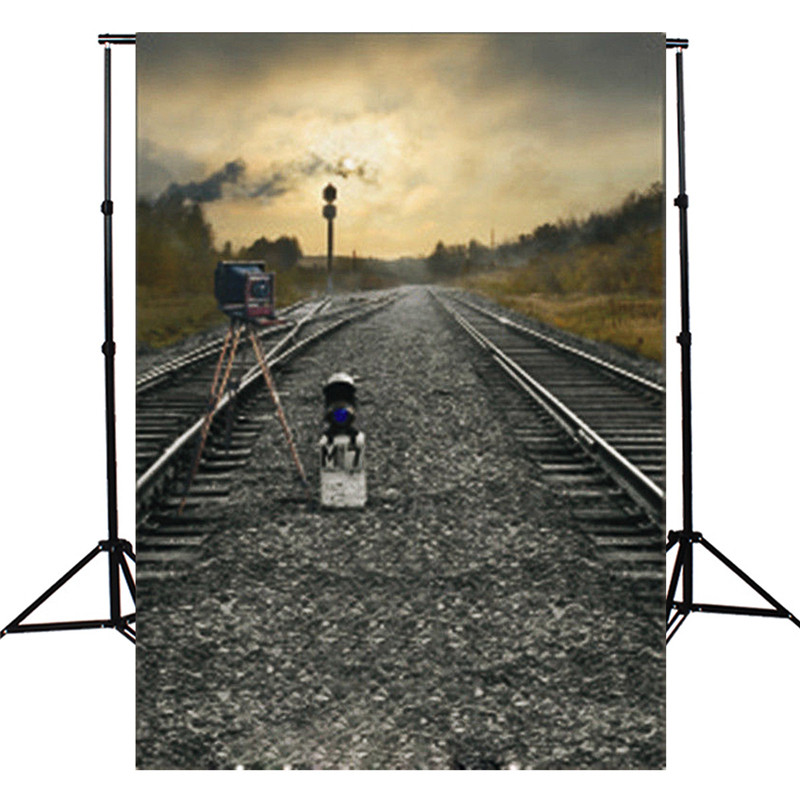 3x5ft Thin vinyl Photographic Background Train Road Railway Track Camera Theme Photography Backdrop Studio Photo Props(China (Mainland))