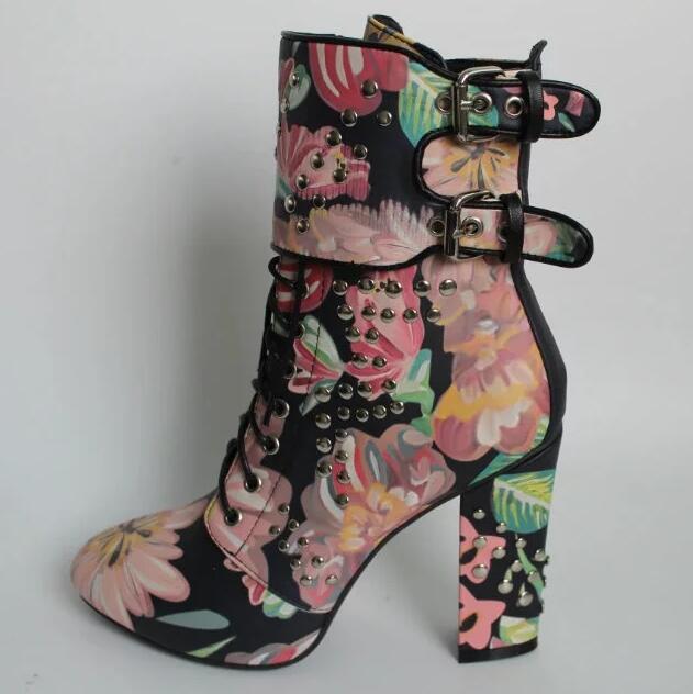 Cheap Floral Combat Boots - Yu Boots