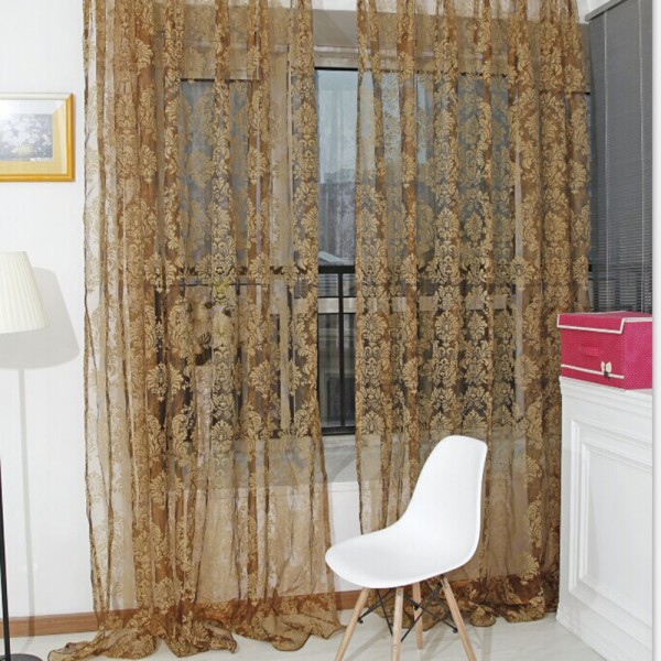 Unique Bronzing Voile Door Window Curtain Balcony Valances Sheer Scarfs Hot(China (Mainland))