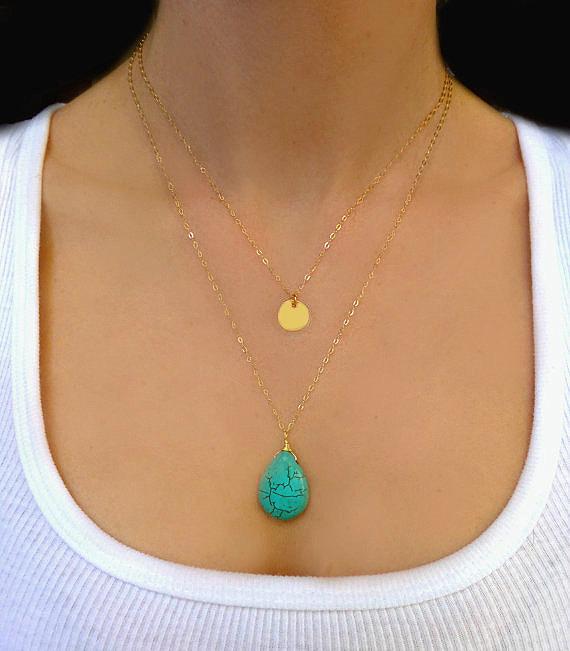 Fashion sexy choker necklaces women gold leaves boho necklace Imitation turquoise pendants collier vintage bohemian sautoir B190