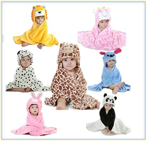 Baby Cartoon Blankets Flannel Animal Newborn Bath with hooded towel Bathrobe Cloak Kids Bedding Wrap Swaddle Hello Kitty(China (Mainland))