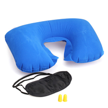 Travel Essential Fashion Multifunction Inflatable Pillow Patch Earplug New