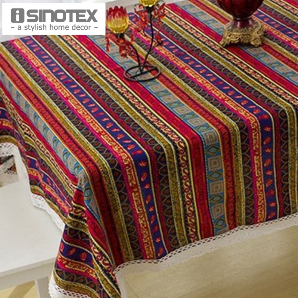 Linen&Cotton Table Cloth Table Cover Decor Rustic Tablecloth Handmade Stripes Printed Woven Home Party Dining Room 1pcs/lot(China (Mainland))