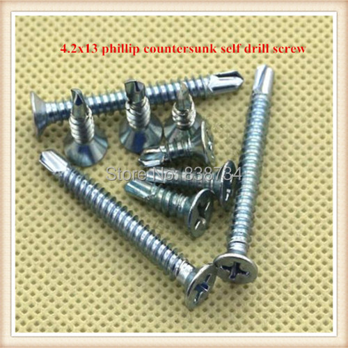 100pcs Phillip countersunk 4.2*13 carbon steel white zinc coated self drilling screw<br><br>Aliexpress