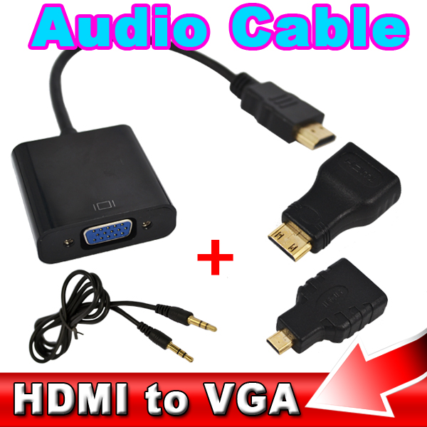 Hot Sale HDMI to VGA Adapter Adaptor Convert + Micro HDMI Connector + Mini HDMI Connector + Audio Cable Built-in Chipset(China (Mainland))