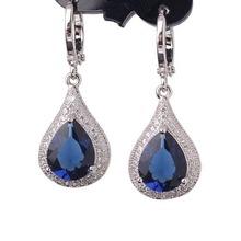Creative Jewelry Earring for Women 18k White Gold Plating Drop Earrings Pear Shape Crystal Fabulous Wedding Dangle Earing E051(China (Mainland))