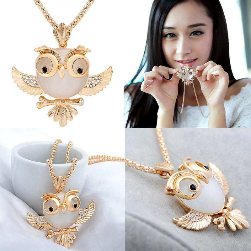 Women Girl Hot Fashion Charming Opal Rhinestone Crystal Owl Pendant Necklace Long Chain Jewelry Gift(China (Mainland))