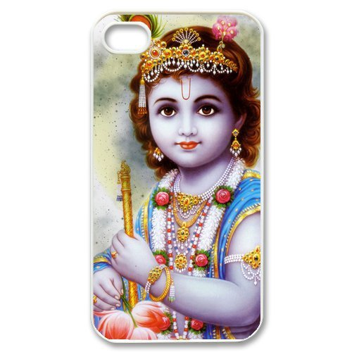 2014 New Art Design Hinduism Lord Krishna Fashion Cell Phone Hard Plastic Cover Case (HD Image) For Iphone 4,4s Free Shipping(China (Mainland))