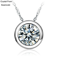 Buy Crystal SWAROVSKI ELEMENTS Round Crystal Love Lady Pendant Necklace Woman Thin Chain Popular Hot Style for $3.00 in AliExpress store
