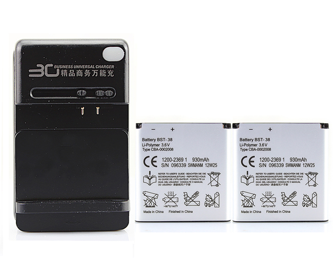 2x BST-38 Battery+ Charger For SONY ERICSSON C510,C902,C905,C905a,K770,K770i,K580,K850i,K858,R300,R306,S312,S500 T658,W580,W580i(China (Mainland))