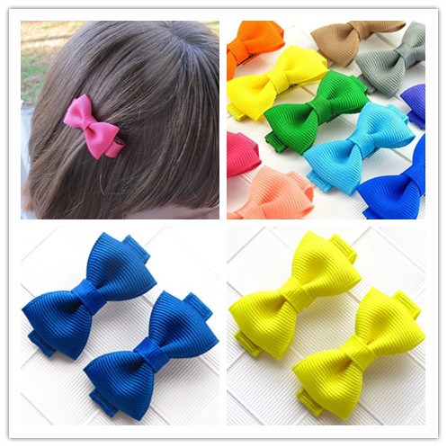 2pcs/lot boutique barrettes for children baby girls mini ribbon hair clip bows for girls hairpins accessories Hairgrips headwear(China (Mainland))