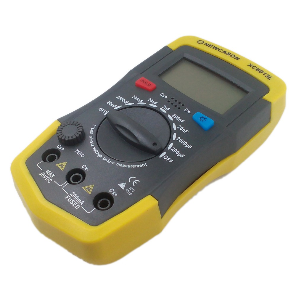 New XC6013L Capacitance 6013 Capacitor Tester Meter In Circuit with Probes Wholesale Retail High Quality