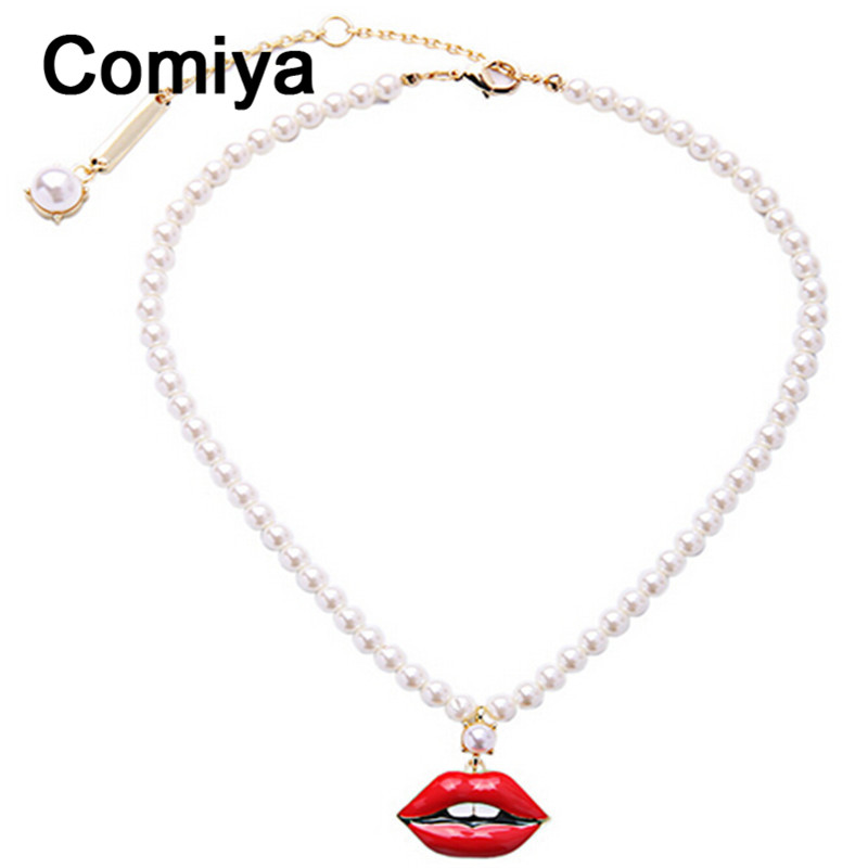 Comiya red lip teeth personality pendants necklaces acrylic imitation pearl beads rope chain necklace gold plated jewelry(China (Mainland))
