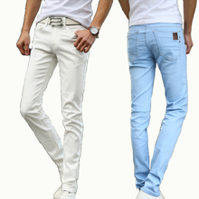 2016  Men's Straight  Elastic Waist Skinny Jeans Mid Waist  Men's  Slim Fit Jean Homme Casual Pants 28-38 Size(China (Mainland))