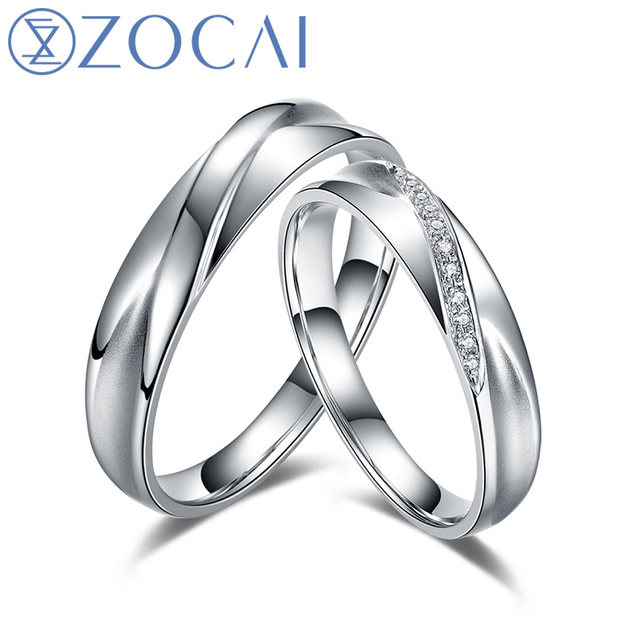 ZOCAI The Moment 0.04 Ct  Certified Diamond Wedding Bands Ring 18K White Gold (Au750) His and Hers Diamond Ring Q00153AB