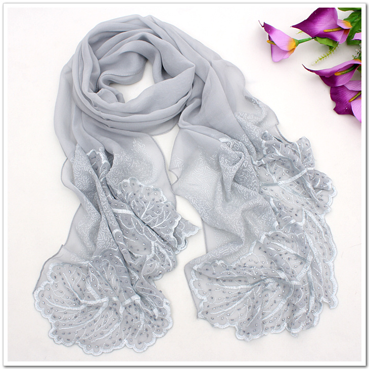 Autumn and winter female silk mulberry silk scarf long for Diamond and silk t shirts