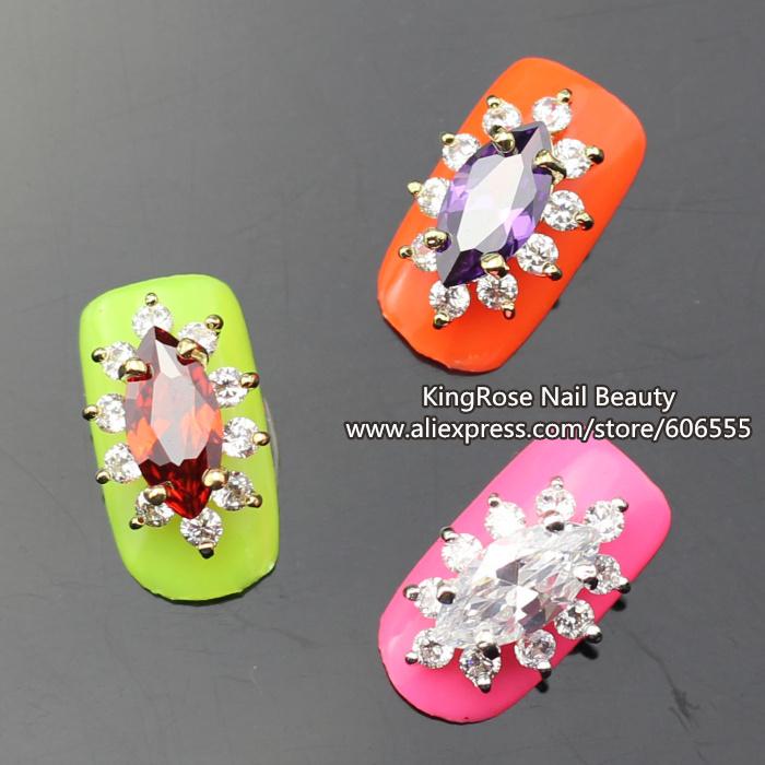rh1339-1341 Colorful Zircon 3d Alloy Nail Art Decorations DIY Easy Nail Designs 10pcs/lot Metal free shipping(China (Mainland))