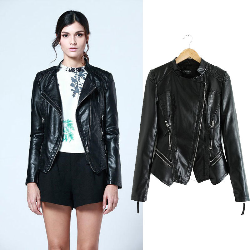 Womens Slim Black PU Faux Leather Motorcycle Biker Jacket Coat Size SMLXL - Factory Price Clothing(Offer Drop Shipping store)