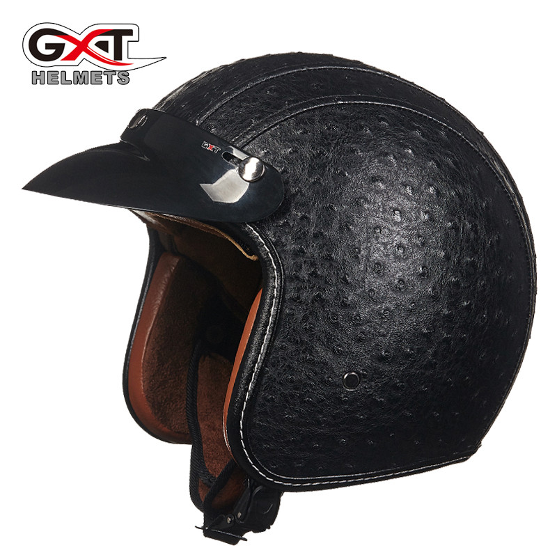 2016 New arrival brand GXT retro helmet Cool PU Leather motorcycle helmet Vintage scooter open face helmet Moto capacete(China (Mainland))