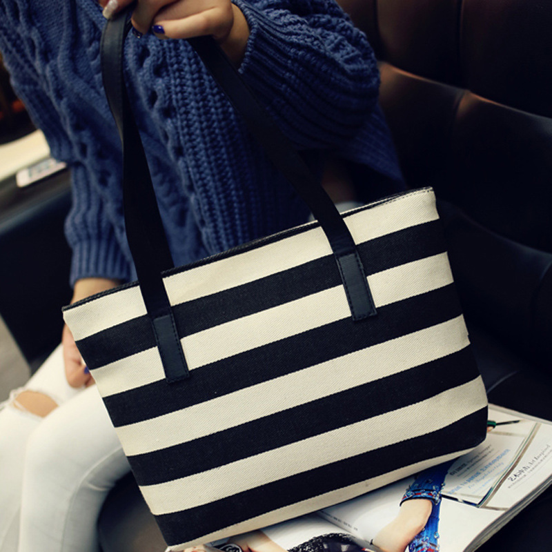 2016 new explosion Nylon women stripes bags handbags for women totes ladies Shoulder Bag all-match shopping bag free shipping(China (Mainland))