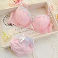 Children training bra set cotton lovely Lace girl underwear set kids bras and shorts set bras