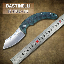 Nueva Bastinelli hoja de acero D2 cuchillo G10 maneja el cuchillo plegable de campamento Tactical hunt exterior supervivencia de bolsillo cuchillos herramienta EDC
